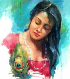 Figurative Oil Art Painting title Love by artist Raviraj