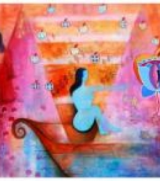 Figurative Mixed-media Art Painting title 'Desire Of Transformation' by artist Poonam Agarwal