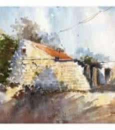 Landscape Watercolor Art Painting title 'Abandoned House' by artist Soven Roy