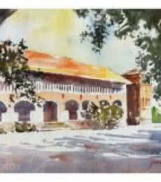 Soven Roy Paintings | Watercolor Painting - Building From Agriculture University Pune by artist Soven Roy | ArtZolo.com