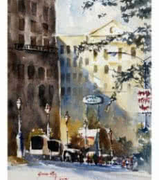Soven Roy | Watercolor Painting title Cityscape Kalyaninagar Pune 1 on Paper | Artist Soven Roy Gallery | ArtZolo.com