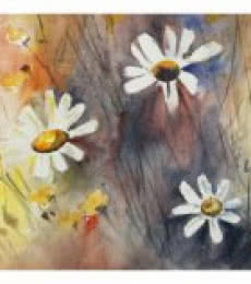 Soven Roy | Watercolor Painting title Flowers 2 on Paper | Artist Soven Roy Gallery | ArtZolo.com