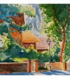 Landscape Watercolor Art Painting title 'Home Among Trees' by artist Soven Roy