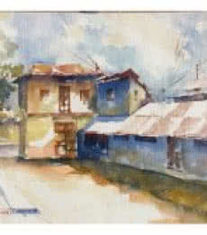 Landscape Watercolor Art Painting title 'House At Wai 2' by artist Soven Roy