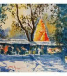 Landscape Watercolor Art Painting title 'Temple at Baneswar ' by artist Soven Roy