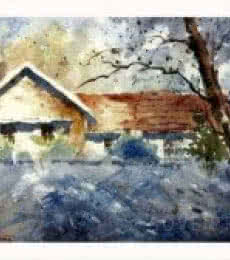 Landscape Watercolor Art Painting title 'Morning Rays' by artist Soven Roy