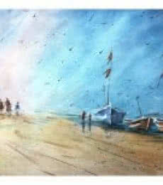 Landscape Watercolor Art Painting title 'Waiting Boats' by artist Soven Roy