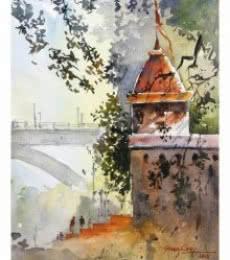 Landscape Watercolor Art Painting title Bund Garden Pune by artist Soven Roy