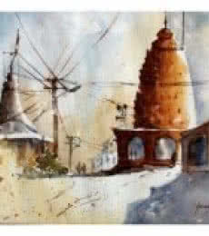 Soven Roy | Watercolor Painting title Village Temple on Paper