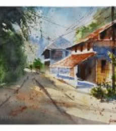 Soven Roy Paintings | Watercolor Painting - Konkan House by artist Soven Roy | ArtZolo.com