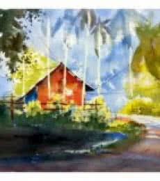 Red House At The Corner 1 | Painting by artist Soven Roy | watercolor | Paper