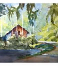 Red House At The Corner-2 | Painting by artist Soven Roy | Watercolor | Paper