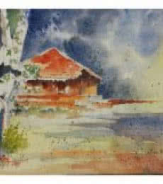 Red Konkan House - 2 | Painting by artist Soven Roy | watercolor | Paper