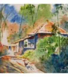 Landscape Watercolor Art Painting title 'Returning Home' by artist Soven Roy
