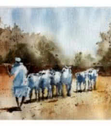 Landscape Watercolor Art Painting title 'Starting For The Day' by artist Soven Roy