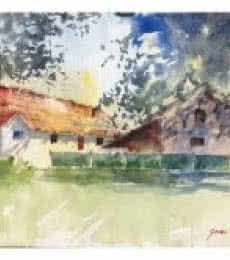 Soven Roy | Watercolor Painting title Summer Morning 1 on Paper | Artist Soven Roy Gallery | ArtZolo.com