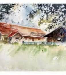 Soven Roy | Watercolor Painting title Summer Morning 2 on Paper | Artist Soven Roy Gallery | ArtZolo.com