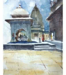 Soven Roy | Watercolor Painting title Temple At Wai on Paper | Artist Soven Roy Gallery | ArtZolo.com