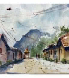 Village At Wai | Painting by artist Soven Roy | watercolor | Paper