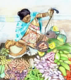 Figurative Watercolor Art Painting title 'Vegetable Vendor' by artist Guru Rajesh