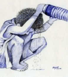 Figurative Pen Art Drawing title 'Cooling Off' by artist Guru Rajesh