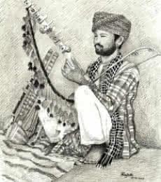 Figurative Pen Art Drawing title Folk Musician of Rajasthan by artist Guru Rajesh