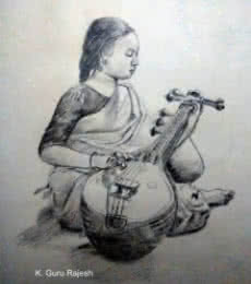 Music Pencil Art Drawing title 'Veena Sadhana' by artist Guru Rajesh