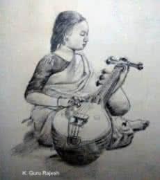 Veena Sadhana | Drawing by artist Guru Rajesh |  | pencil | Paper