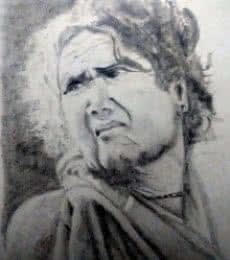 Pencil Paintings | Drawing title Tribal lady on Paper | Artist Guru Rajesh
