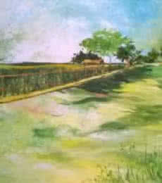 Nature Acrylic Art Painting title 'Countryside' by artist Shubhamshiva