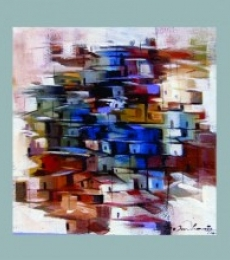 Abstract Acrylic Art Painting title 'Present landscape' by artist Solomon Rajendiran