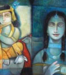 Krishna - o - Radha   Painting by artist Arun Samadder   oil   Canvas