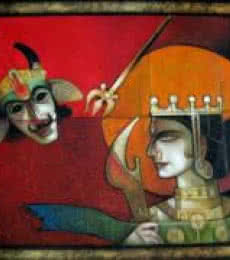Arun Samadder | Oil Painting title Power on Canvas | Artist Arun Samadder Gallery | ArtZolo.com
