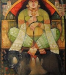 Arun Samadder | Oil Painting title Durga O Bull on Canvas | Artist Arun Samadder Gallery | ArtZolo.com