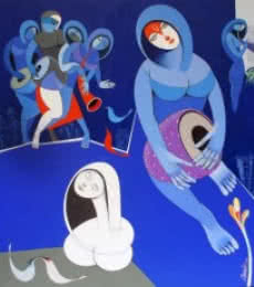 Figurative Acrylic Art Painting title 'Musicians IX' by artist Pradip Sarkar