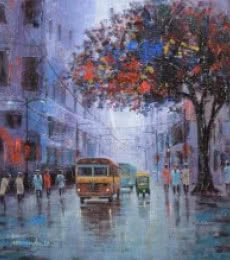 Cityscape Acrylic Art Painting title After Rain by artist Purnendu Mandal