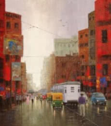 Purnendu Mandal | Acrylic Painting title After Rain In Kolkata on Canvas | Artist Purnendu Mandal Gallery | ArtZolo.com