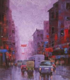 Cityscape Acrylic Art Painting title 'After Rain In Kolkata I' by artist Purnendu Mandal
