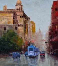 Purnendu Mandal | Oil Painting title After Rain In Kolkata 2 on Canvas | Artist Purnendu Mandal Gallery | ArtZolo.com