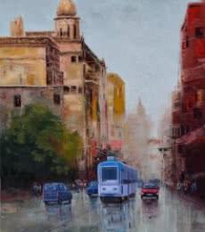 After Rain In Kolkata 2 | Painting by artist Purnendu Mandal | oil | Canvas