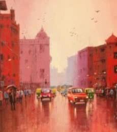 Cityscape II | Painting by artist Purnendu Mandal | acrylic | Canvas