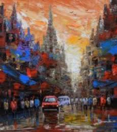 Cityscape Acrylic Art Painting title 'Cityscape 2' by artist Purnendu Mandal