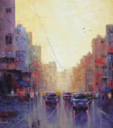 Cityscape III | Painting by artist Purnendu Mandal | acrylic | Canvas