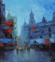 Cityscape Acrylic Art Painting title Cityscape VI by artist Purnendu Mandal