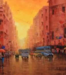 Cityscape Acrylic Art Painting title First Light by artist Purnendu Mandal