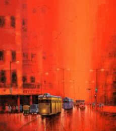 Cityscape Acrylic Art Painting title First Light III by artist Purnendu Mandal