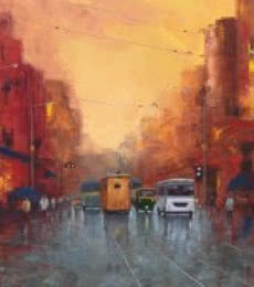 Cityscape Oil Art Painting title 'Good Morning Kolkata 5' by artist Purnendu Mandal