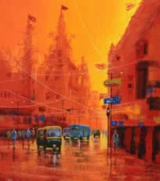 Cityscape Acrylic Art Painting title 'Good Morning Kolkata 7' by artist Purnendu Mandal