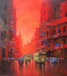Good Morning Kolkata I | Painting by artist Purnendu Mandal | acrylic | Canvas