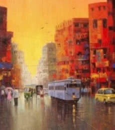 Purnendu Mandal | Acrylic Painting title Good Morning Kolkata II on Canvas | Artist Purnendu Mandal Gallery | ArtZolo.com